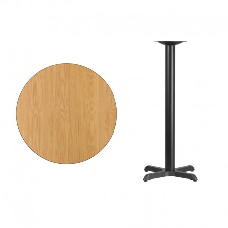 MFO 30'' Round Natural Laminate Table Top with 22'' x 22'' Bar Height Table Base