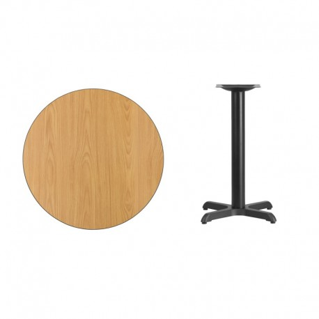 MFO 30'' Round Natural Laminate Table Top with 22'' x 22'' Table Height Base