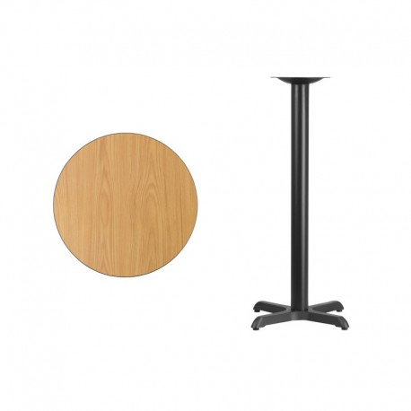 MFO 24'' Round Natural Laminate Table Top with 22'' x 22'' Bar Height Table Base