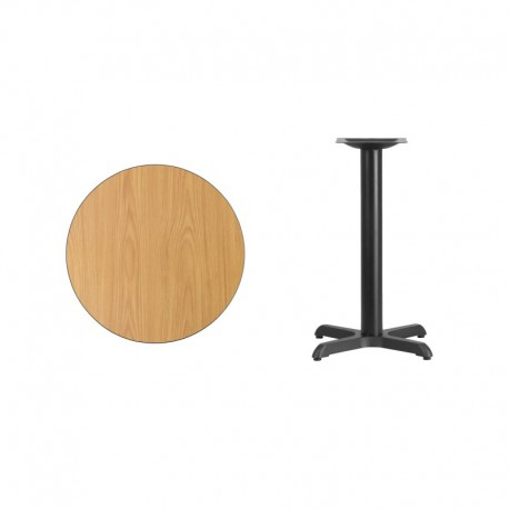 MFO 24'' Round Natural Laminate Table Top with 22'' x 22'' Table Height Base