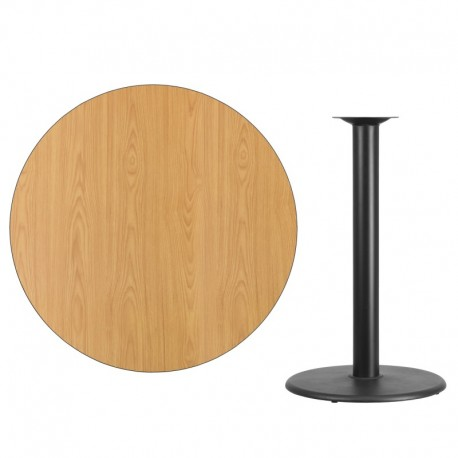 MFO 42'' Round Natural Laminate Table Top with 24'' Round Bar Height Table Base