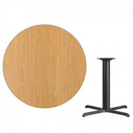 MFO 42'' Round Natural Laminate Table Top with 33'' x 33'' Table Height Base