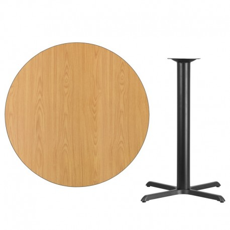 MFO 42'' Round Natural Laminate Table Top with 33'' x 33'' Bar Height Table Base