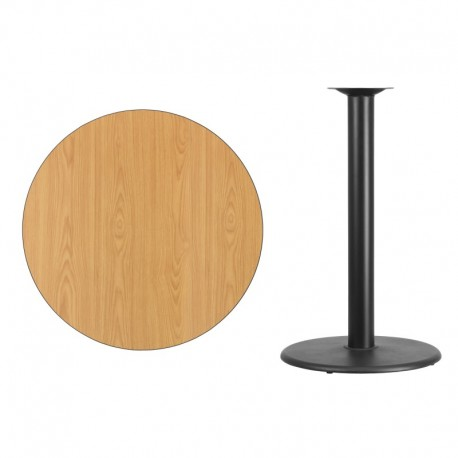 MFO 36'' Round Natural Laminate Table Top with 24'' Round Bar Height Table Base