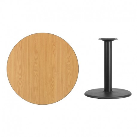 MFO 36'' Round Natural Laminate Table Top with 24'' Round Table Height Base