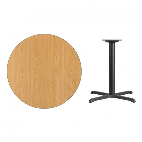 MFO 36'' Round Natural Laminate Table Top with 30'' x 30'' Table Height Base