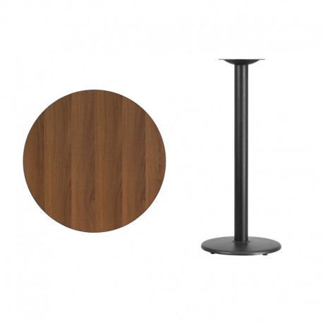 MFO 30'' Round Walnut Laminate Table Top with 18'' Round Bar Height Table Base