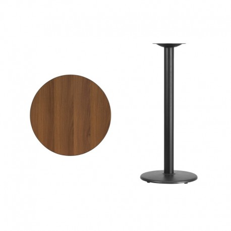 MFO 24'' Round Walnut Laminate Table Top with 18'' Round Bar Height Table Base