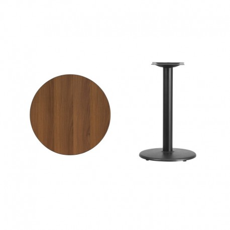 MFO 24'' Round Walnut Laminate Table Top with 18'' Round Table Height Base