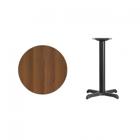 MFO 24'' Round Walnut Laminate Table Top with 22'' x 22'' Table Height Base