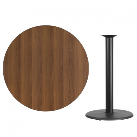 MFO 42'' Round Walnut Laminate Table Top with 24'' Round Bar Height Table Base