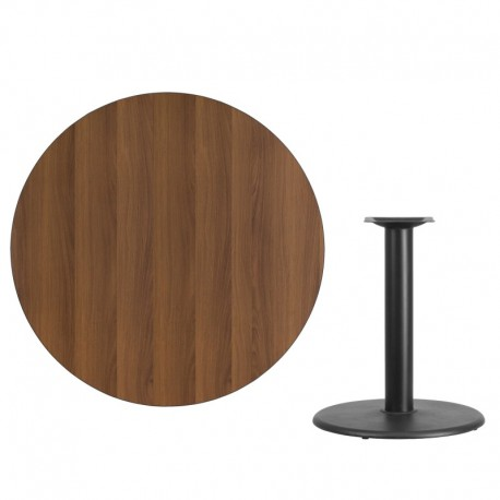 MFO 42'' Round Walnut Laminate Table Top with 24'' Round Table Height Base