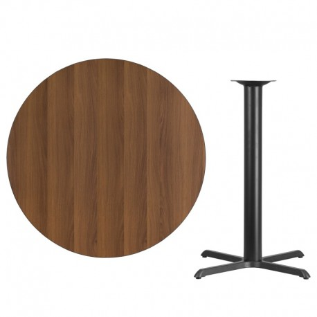MFO 42'' Round Walnut Laminate Table Top with 33'' x 33'' Bar Height Table Base