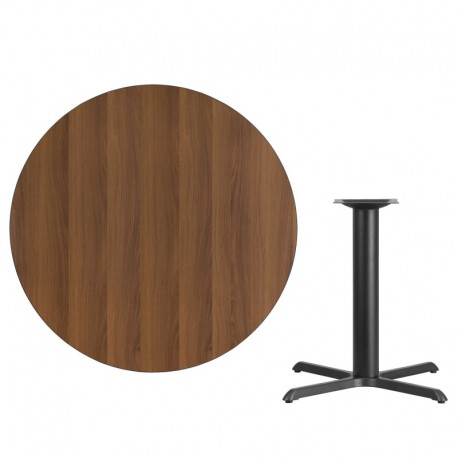 MFO 42'' Round Walnut Laminate Table Top with 33'' x 33'' Table Height Base