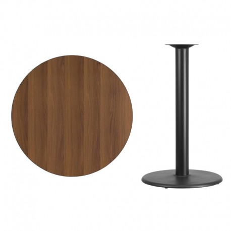 MFO 36'' Round Walnut Laminate Table Top with 24'' Round Bar Height Table Base
