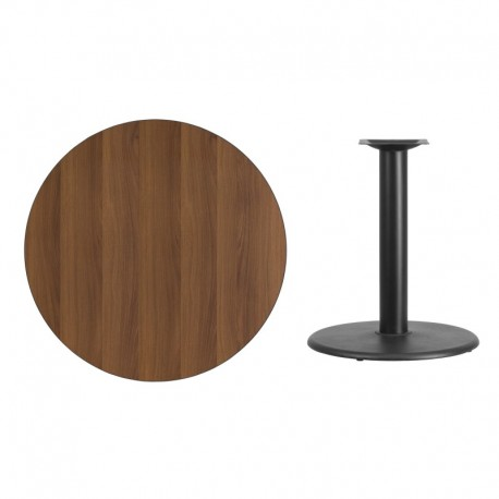 MFO 36'' Round Walnut Laminate Table Top with 24'' Round Table Height Base