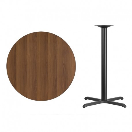MFO 36'' Round Walnut Laminate Table Top with 30'' x 30'' Bar Height Table Base