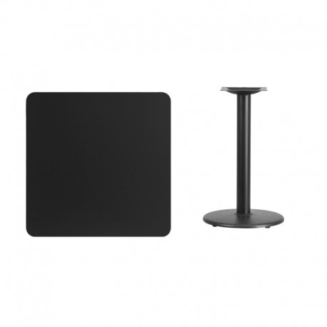 MFO 30'' Square Black Laminate Table Top with 18'' Round Table Height Base