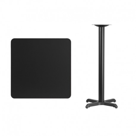 MFO 30'' Square Black Laminate Table Top with 22'' x 22'' Bar Height Table Base