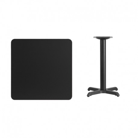 MFO 30'' Square Black Laminate Table Top with 22'' x 22'' Table Height Base