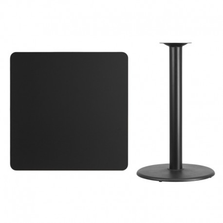 MFO 36'' Square Black Laminate Table Top with 24'' Round Bar Height Table Base