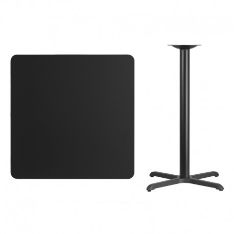 MFO 36'' Square Black Laminate Table Top with 30'' x 30'' Bar Height Table Base