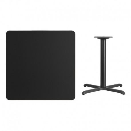 MFO 36'' Square Black Laminate Table Top with 30'' x 30'' Table Height Base