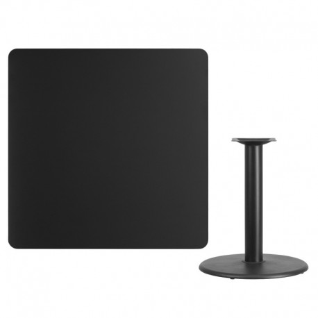 MFO 42'' Square Black Laminate Table Top with 24'' Round Table Height Base