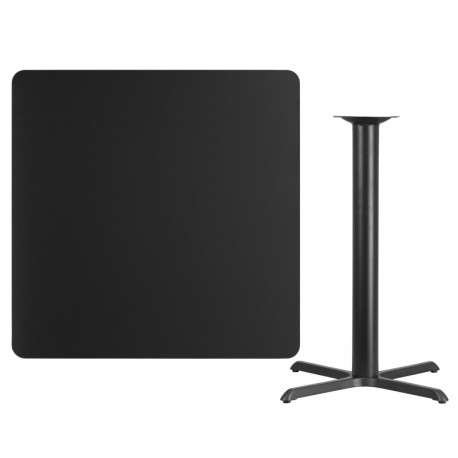 MFO 42'' Square Black Laminate Table Top with 33'' x 33'' Bar Height Table Base