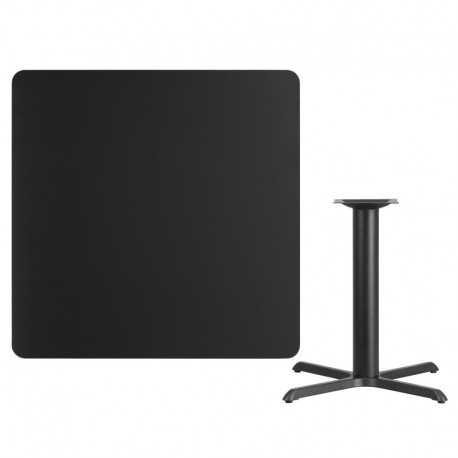 MFO 42'' Square Black Laminate Table Top with 33'' x 33'' Table Height Base