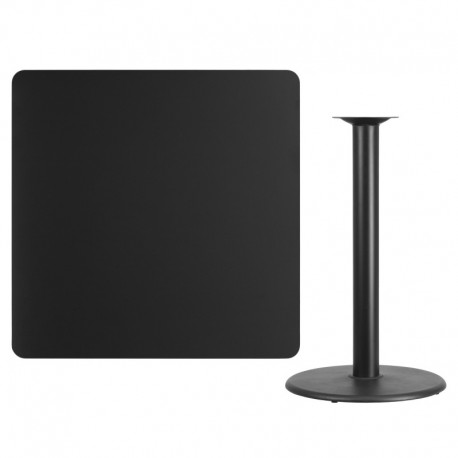 MFO 42'' Square Black Laminate Table Top with 24'' Round Bar Height Table Base