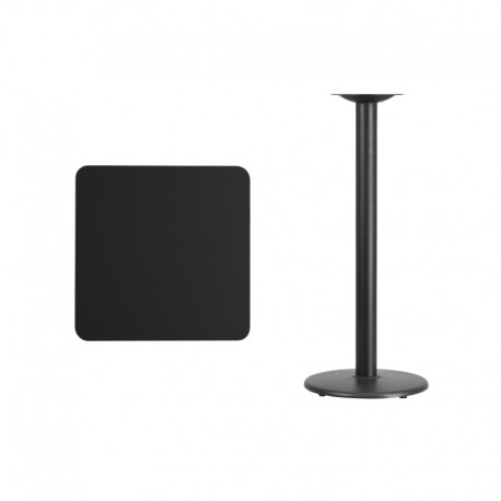 MFO 24'' Square Black Laminate Table Top with 18'' Round Bar Height Table Base