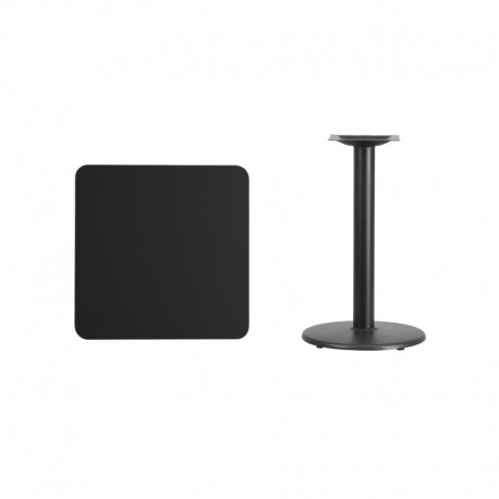 MFO 24'' Square Black Laminate Table Top with 18'' Round Table Height Base