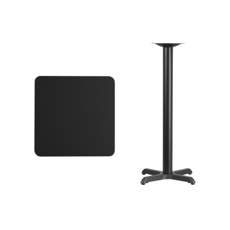 MFO 24'' Square Black Laminate Table Top with 22'' x 22'' Bar Height Table Base