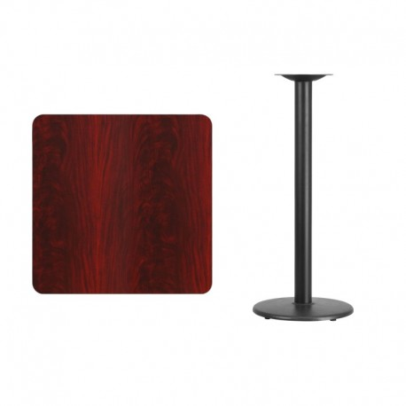 MFO 30'' Square Mahogany Laminate Table Top with 18'' Round Bar Height Table Base