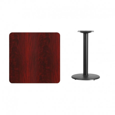 MFO 30'' Square Mahogany Laminate Table Top with 18'' Round Table Height Base