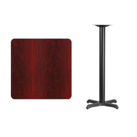 MFO 30'' Square Mahogany Laminate Table Top with 22'' x 22'' Bar Height Table Base