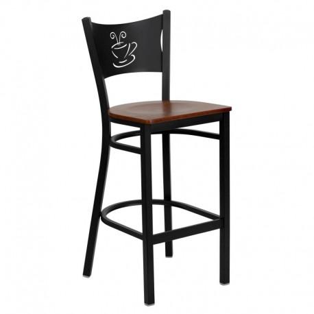 MFO Black Coffee Back Metal Restaurant Bar Stool - Cherry Wood Seat