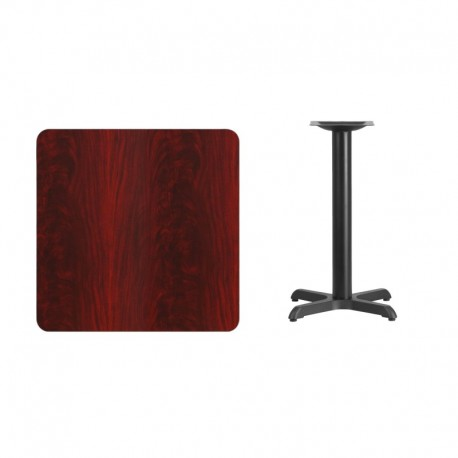 MFO 30'' Square Mahogany Laminate Table Top with 22'' x 22'' Table Height Base