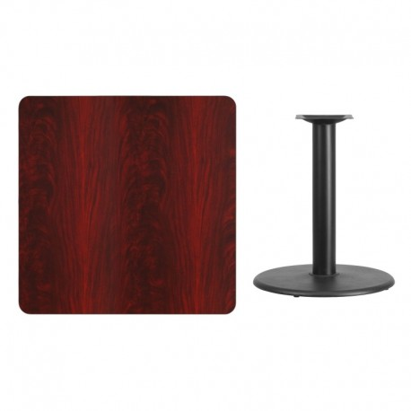 MFO 36'' Square Mahogany Laminate Table Top with 24'' Round Table Height Base