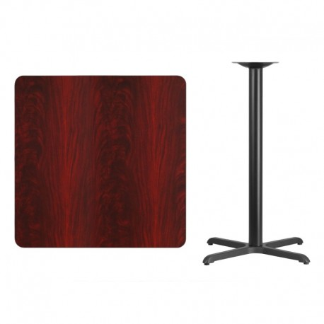 MFO 36'' Square Mahogany Laminate Table Top with 30'' x 30'' Bar Height Table Base