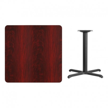 MFO 36'' Square Mahogany Laminate Table Top with 30'' x 30'' Table Height Base