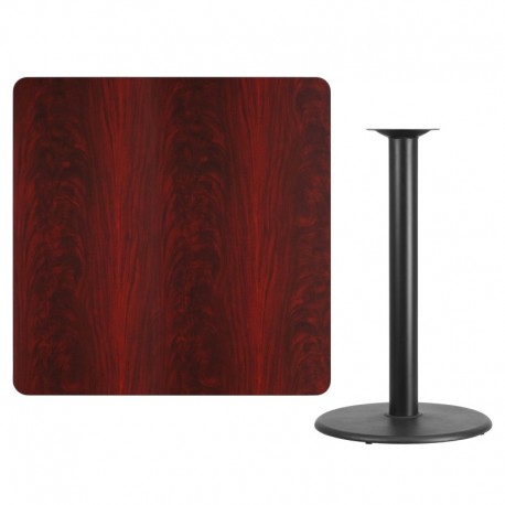 MFO 42'' Square Mahogany Laminate Table Top with 24'' Round Bar Height Table Base