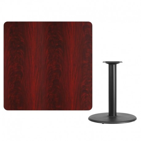 MFO 42'' Square Mahogany Laminate Table Top with 24'' Round Table Height Base