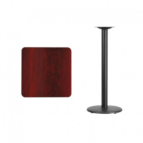 MFO 24'' Square Mahogany Laminate Table Top with 18'' Round Bar Height Table Base