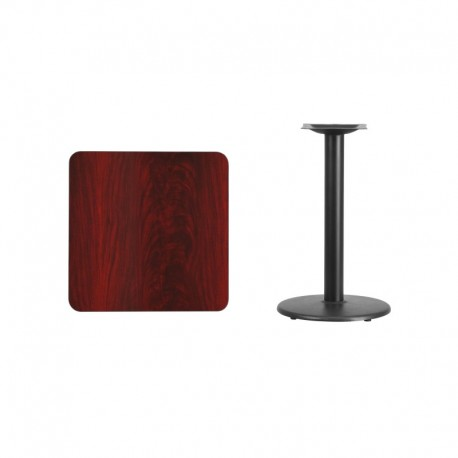MFO 24'' Square Mahogany Laminate Table Top with 18'' Round Table Height Base
