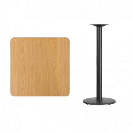 MFO 30'' Square Natural Laminate Table Top with 18'' Round Bar Height Table Base