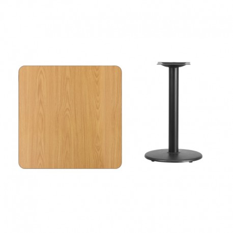 MFO 30'' Square Natural Laminate Table Top with 18'' Round Table Height Base