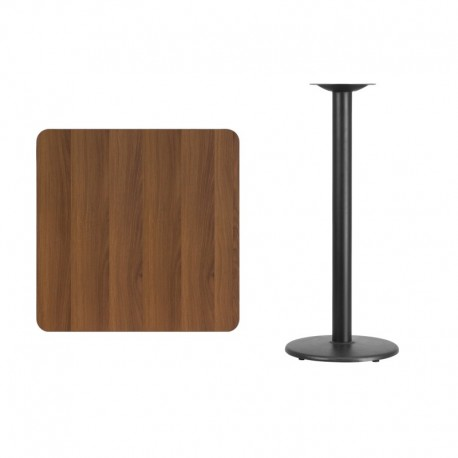 MFO 30'' Square Walnut Laminate Table Top with 18'' Round Bar Height Table Base