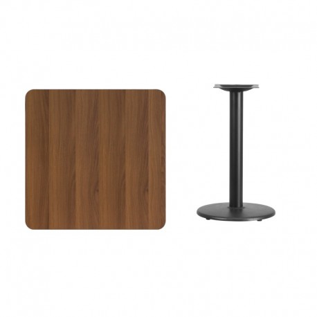 MFO 30'' Square Walnut Laminate Table Top with 18'' Round Table Height Base